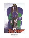 Femme assise à l'écharpe verte Reproduction pour collectionneurs par Pablo Picasso