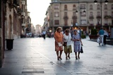 Three Ladies Walking in Spanish Street