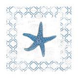 Navy Starfish on Newsprint