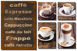 Coffee 5 Piece Set Tableau multi toiles
