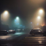 Cars in Car Park with Fog at Night