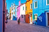 Brightly Colored Houses in Burano  Italy