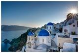 Beautiful blue domes of Santorini  Greece