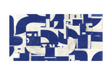 Collaged Letters Blue A