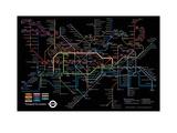 Black London Underground Map Reproduction d'art par Transport For London