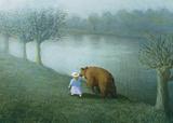 Girl with Bear Reproduction d'art par Michael Sowa