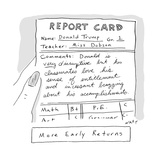 Report Card Donald Trump - Cartoon