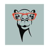 Funny Camel Wearing Glasses Vector Illustration for T Shirt  Poster  Print Design
