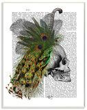 Newspaper Print Skull with Peacock