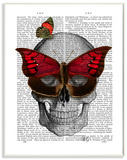 Newspaper Print Skull with Butterflies