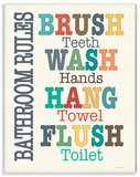 Colorful Bathroom Rules Typography