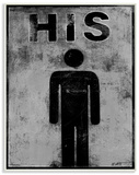 His Distressed Bathroom Sign