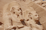 Statues of Pharaoh Ramesses II decorating facade of temple  The Great Temple  Abu Simbel  Nubia