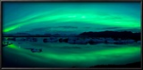 Aurora Borealis or Northern Lights over the Jokulsarlon Lagoon  Iceland