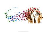 Birds, Birds, Birds Reproduction d'art par Lora Zombie