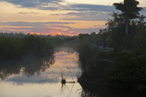 View of swamp habitat at sunrise  with tourists on path  Anhinga Trail  Everglades