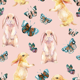 Rabbit and Butterflies Watercolor Seamless Pattern
