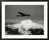 """B-17 """"Flying Fortess"""" Bomber over Mt Rainier  1938"""