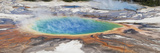 Thermophile bacterial mats and steam rising from hotspring  Midway Geyser Basin