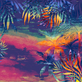 Watercolor Palm Trees at Sunset
