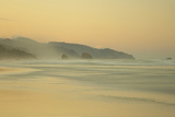 View of beach and distant sea stacks at dusk  Cannon Beach  Oregon  USA