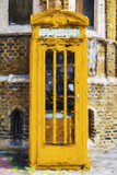 Dark Yellow Phone Booth - In the Style of Oil Painting