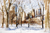 Winter in Central Park V - In the Style of Oil Painting