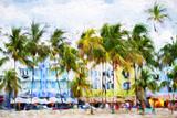 Ocean Drive Beach II - In the Style of Oil Painting Giclée par Philippe Hugonnard