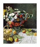 Still Life with Flowers and Fruit  1869