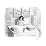 """A woman at a desk with one organizer that says """"Forms I cannot deal with """" - New Yorker Cartoon"""