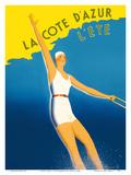 La Cote d'Azur - L'ete (Summer) - Paris-Lyon-Mediterranee Railway (PLM)  French Railroad