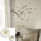 White Blossom Branch Peel and Stick Giant Wall Decals with Flower Embellishments
