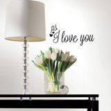 PS I Love You with Heart Single Sheet Peel and Stick Wall Decals