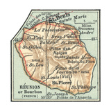 Inset Map of Reunion or Bourbon Island (French)