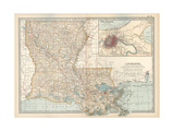 Map of Louisiana United States Inset Map of New Orleans and Vicinity