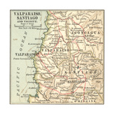 Inset Map of Valparaiso  Santiago and Vicinity Chile