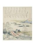 Village on the Yoshino River  Illustration for the Brocade Shell (Nishiki-Gai)  1821