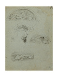 Standing Figure in a Niche and Studies for the Ugolino Group  1857-58