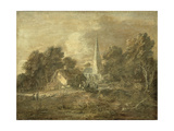 Wooded Landscape with Village Scene  Early 1770-72