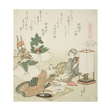 Chopping Rice Cakes  Illustration for the Board-Roof Shell (Itayagai)  1821