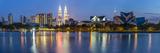 Petronas Towers and City Skyline  Lake Titiwangsa  Kuala Lumpur  Malaysia