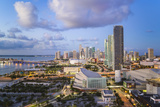 Elevated View over Biscayne Boulevard and the Skyline of Miami  Florida  USA