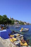 Restaurant in Symi Harbour  Symi  Dodecanese  Greek Islands  Greece  Europe