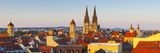 Elevated View Towards St Peter's Cathedral Illuminated at Sunset  Regensburg  Upper Palatinate