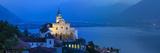 Sanctuary of Madonna Del Sasso Illuminated at Dusk  Locarno  Lake Maggiore