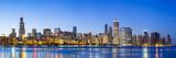 Usa  Illinois  Chicago the City Skyline and a Frozen Lake Michigan