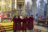 The Botafumeiro - an Incense Burner During Service in Cathedral  Santiago De Compestela  Galicia