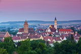 Elevated View over Old Town Illuminated at Dawn  Donauworth  Swabia  Bavaria  Germany