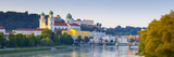 St Stephan's Cathedral and Veste Oberhaus Fortress Illuminated at Sunset  Passau  Lower Bavaria