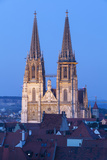 Elevated View Towards St Peter's Cathedral Illuminated at Dusk  Regensburg  Upper Palatinate